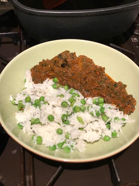 Goan pork curry and rice