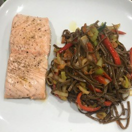 Noodles and salmon